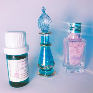 【雑貨】ritual salt & 小瓶(blue) & Alice Land original  オーガニック精油 (15g+5ml)