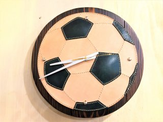 本革 サッカーボール 掛け時計
