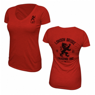 LBT-ORIGIN-TEE WOMENS  Vintage Rampant Lion Short Sleeve V-Neck T-Shirt