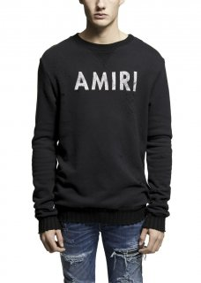 AMIRI/アミリ AMIRI CREW SWEATSHIRT BLACK/アメリ クルー スウェットシャツ ブラック コットン スウェットシャツ/メンズ/A0036