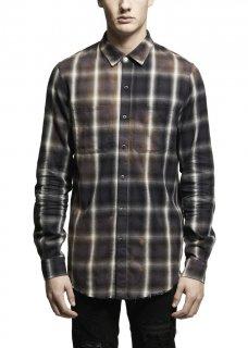 AMIRI/アミリ SPRAY PLAID SHIRT BLACK/スプレー プレイド シャツ ブラック コットン ボタンダウンシャツ/メンズ/A0046