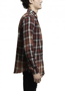 AMIRI/アミリ SPRAY PLAID SHIRT RED/スプレー プレイド シャツ レッド コットン ボタンダウンシャツ/メンズ/A0047