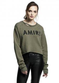 AMIRI/アミリ AMIRI CROPPED SHOTGUN CREW OLIVE/アミリ クロップド ショットガン クルー オリーブ コットン カットソー/レディース/A0129