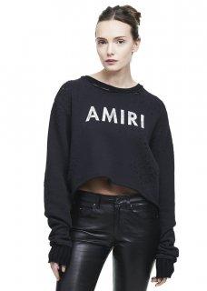 AMIRI/アミリ AMIRI CROPPED SHOTGUN CREW BLACK/アミリ クロップド ショットガン クルー ブラック コットン カットソー/レディース/A0130