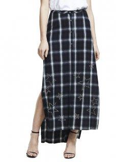 AMIRI/アミリ FLANNEL STAR SKIRT BLACK/フランネル スター スカート ブラック コットン スカート/レディース/A0150