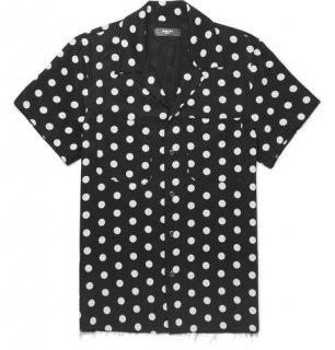 AMIRI/アミリ CAMP-COLLAR POLKA-DOT TWILLSHIRT BLACK/キャンプカラー ポルカ ドット ツイルシャツ ブラック コットン シャツ /メンズ/A0171