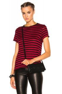 AMIRI/アミリ CASHMERE NEW CLASSIC STRIPE TEE BLACK/RED/カシミヤ ニュー ストライプ ティ ブラック/レッド コットン Tシャツ/レディース/A0173