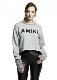 AMIRI/アミリ AMIRI CROPPED SHOTGUN CREW GREY/アミリ クロップド ショットガン クルー グレー コットン カットソー/レディース/A0128