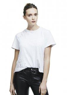 AMIRI/アミリ SHOTGUN TEE WHITE/ショットガン ティー ホワイト コットン Tシャツ/レディース/A0142