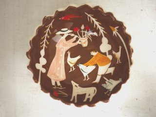 Brown Chasing chickens & Picking flowers Dish Polly Fern