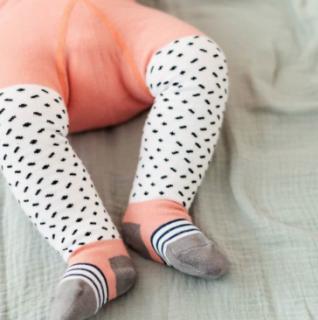 Baby tights freckles rose ベビータイツサーモンピンク×点線柄