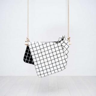 baby blanket square ブランケットブラック×ホワイト正方形柄