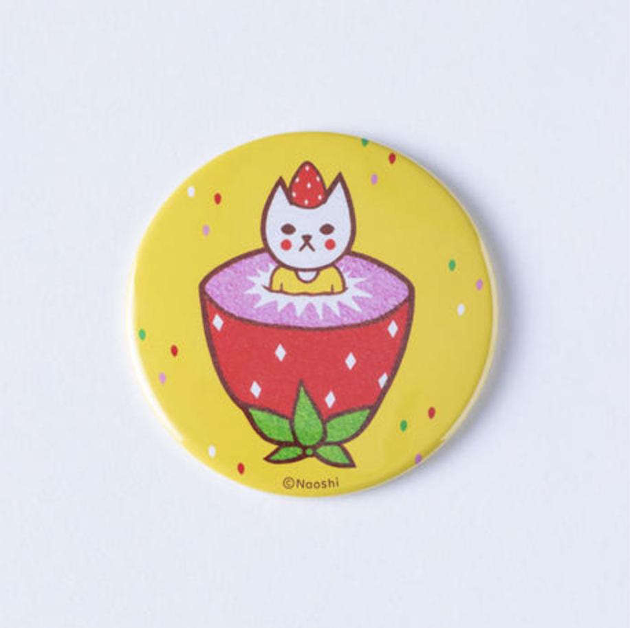FRUIT CAT CAN MIRROR-Yellow フルーツ猫 缶ミラー-イエロー