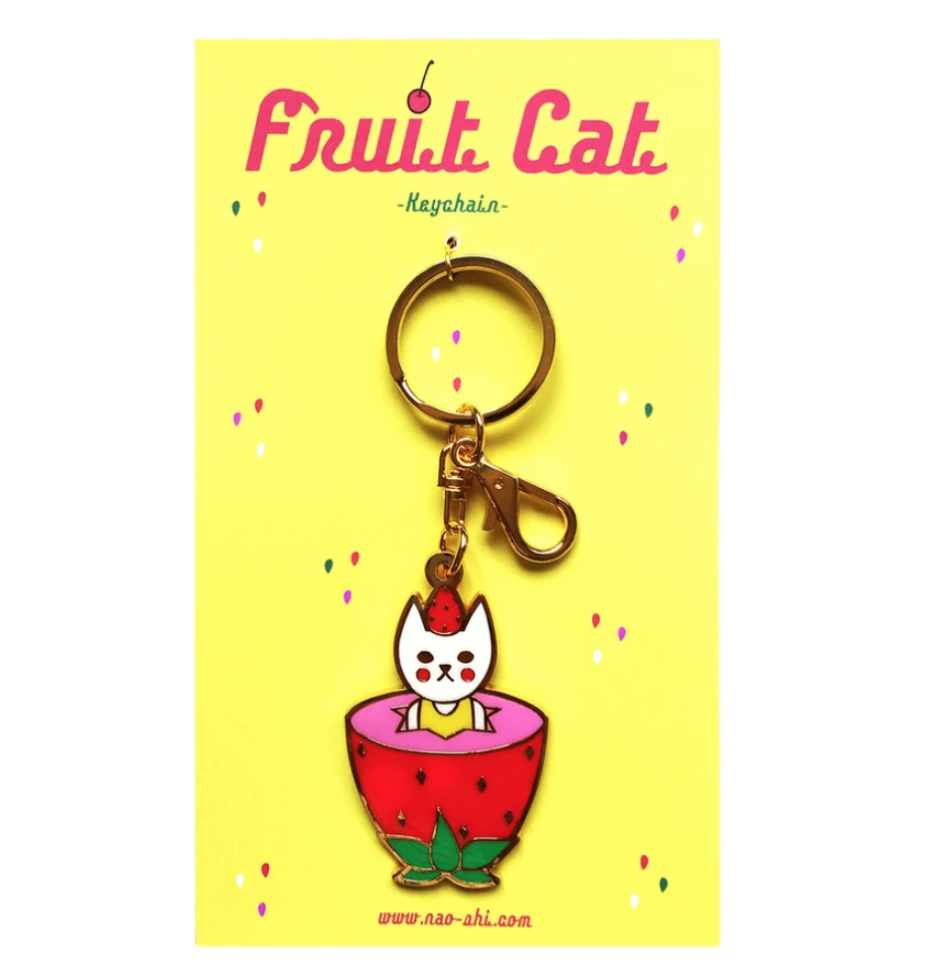 Fruit Cat Keychain -Strawberry- フルーツ猫キーチェーン -イチゴ-