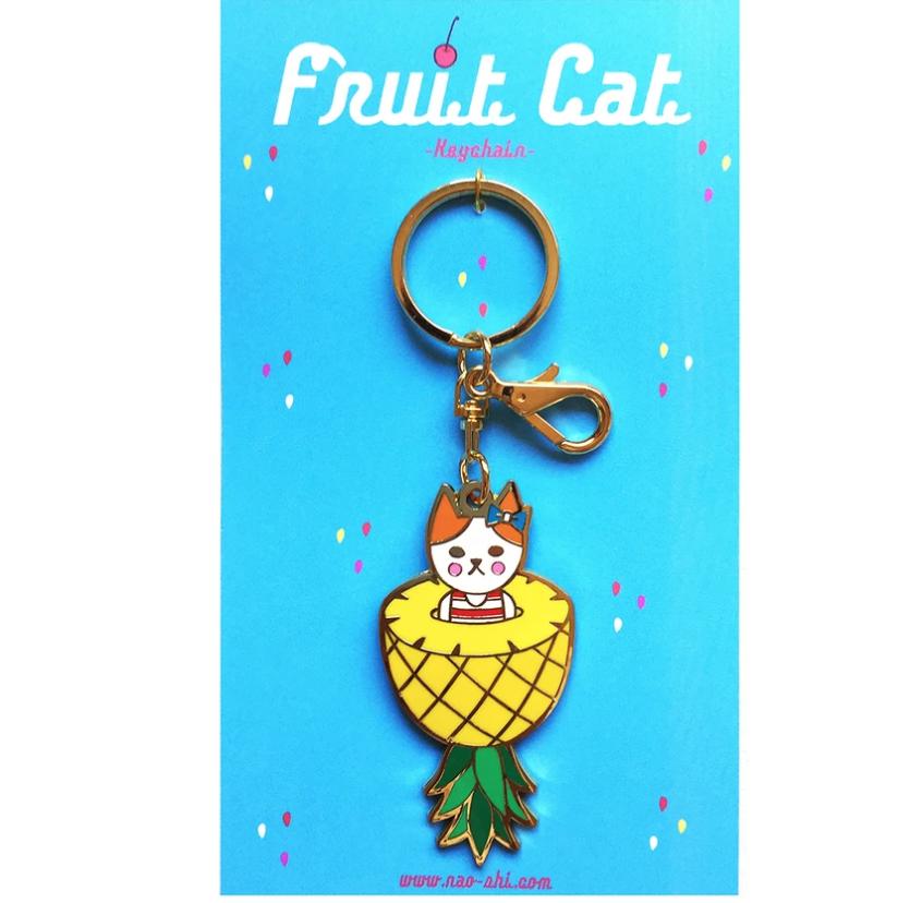 Fruit Cat Keychain -Pineapple- フルーツ猫 キーチェーン -パイナップル-