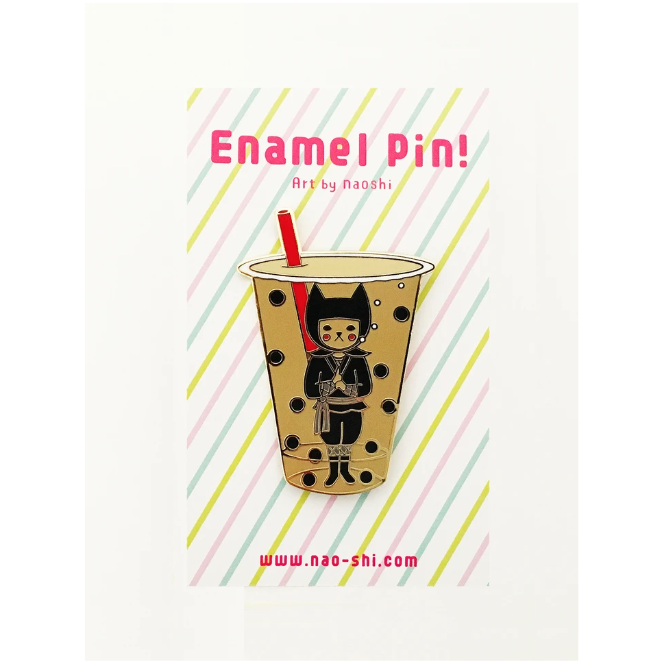 Enamel Pin -Boba Ninja / Milk Tea- エナメルピン ( 泡忍者/ミルクティー )