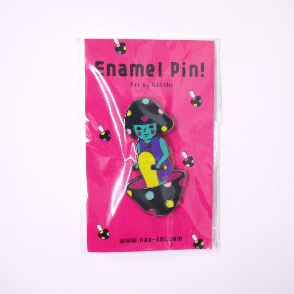 Enamel Pin -Mushroom Girl/ Black- エナメルピン (キノコの子/黒 )