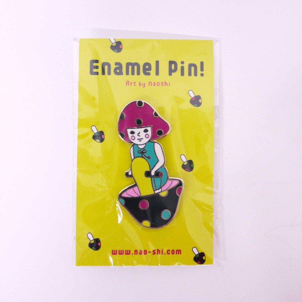 Enamel Pin -Mushroom Girl/ Pink- エナメルピン (キノコの子/ピンク )