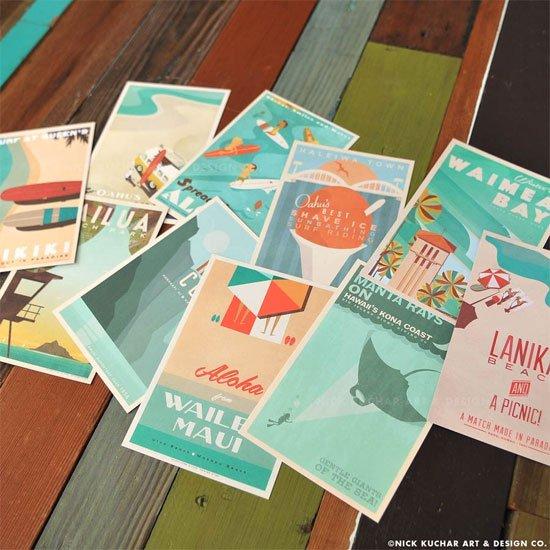 【予約販売・7月中旬頃入荷予定】<br>Nick Kuchar<br>ポストカード10枚セット<br>Ten 4x6 cards