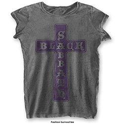 BLACK SABBATH Vintage Cross with Burn Out Finishing, レディースTシャツ