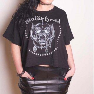 MOTORHEAD Skulls & Aces with Boxy Styling And Glitter Print Application, レディースTシャツ