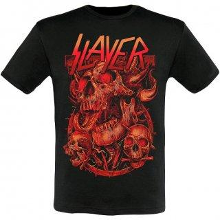SLAYER Three Skulls 2014 Dates (Ex-Tour with Back Print), Tシャツ