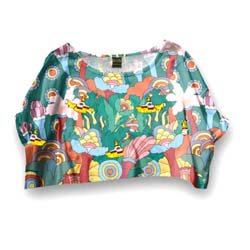 THE BEATLES Yellow Submarine Scenery with Cropped Styling, レディースTシャツ