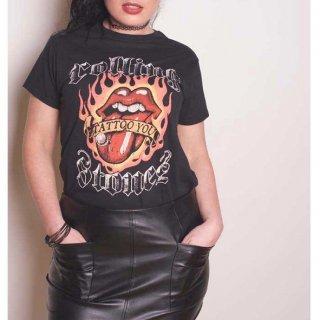 THE ROLLING STONES Flaming Tattoo Tongue, レディースTシャツ