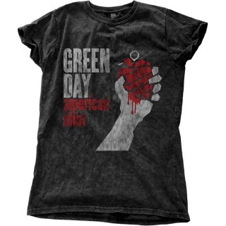 GREEN DAY American Idiot Vintage with Snow Wash Finishing, レディースTシャツ