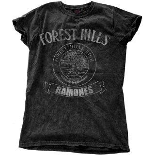 RAMONES Forest Hills Vintage With Snow Wash Finishing, レディースTシャツ
