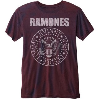 RAMONES Presidential Seal With Burn Out Finishing Maroon, Tシャツ
