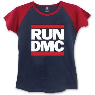RUN DMC Logo With Skinny Fitting Nred, レディースTシャツ