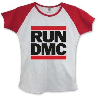 RUN DMC Logo With Skinny Fitting Wred, レディースTシャツ