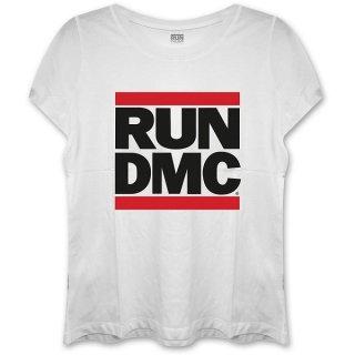 RUN DMC Logo With Skinny Fitting Whi, レディースTシャツ