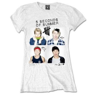 5 SECONDS OF SUMMER Scribbles with Skinny Fitting, レディースTシャツ