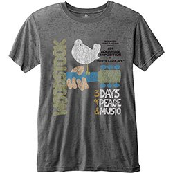 WOODSTOCK Classic Vintage Poster with Burn Out Finishing Gry, Tシャツ