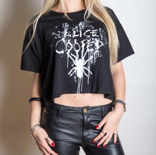 ALICE COOPER Spider Splatter with Boxy Styling and Illuminous Printing, レディースTシャツ