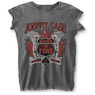 JOHNNY CASH Ring of Fire with Burn Out Finishing, レディースTシャツ