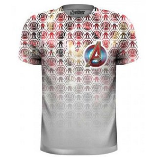MARVEL COMICS Avengers Icons Pattern Pocket Logo with Sublimation Printing, Tシャツ