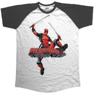 MARVEL COMICS Deadpool Logo Jump, ラグランTシャツ