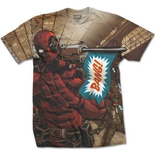 MARVEL COMICS Deadpool Bang with Sublimation Printing, Tシャツ