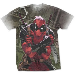 MARVEL COMICS Deadpool Cash with Sublimation Printing, Tシャツ
