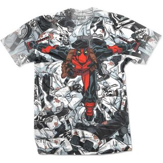 MARVEL COMICS Deadpool Leap with Sublimation Printing, Tシャツ