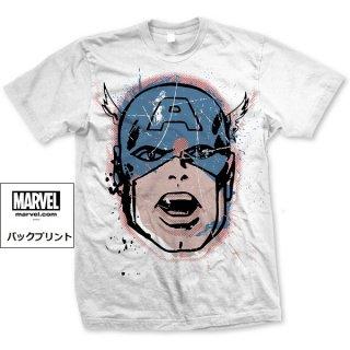 MARVEL COMICS Captain America Big Head Distressed, Tシャツ