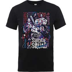 DC COMICS Suicide Squad Harley's Character Collage Blk, Tシャツ
