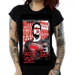 DC COMICS Batman v Superman False God, レディースTシャツ