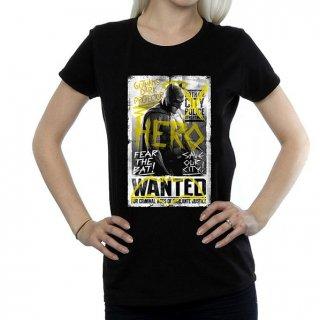 DC COMICS Batman v Superman Wanted Poster (X-Small), レディースTシャツ