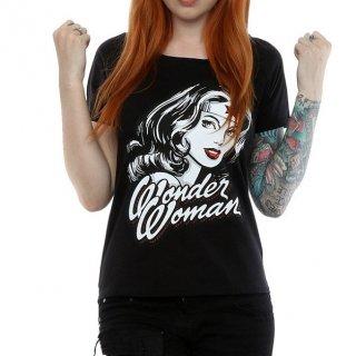 DC COMICS Wonder Woman Hint of Red with Scoop Neck, レディースTシャツ