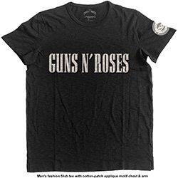 GUNS N' ROSES Logo & Bullet Circle with Applique Motifs, Tシャツ