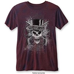 GUNS N' ROSES Faded Skull (Burn Out) Red, Tシャツ